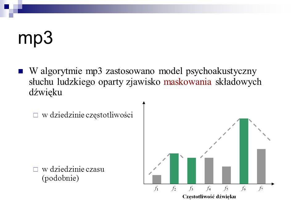 mp3W algorytmie mp3 zastosowano model psychoakustyczny słuchu ludzkiego oparty zjawisko maskowania składowych dźwięku.