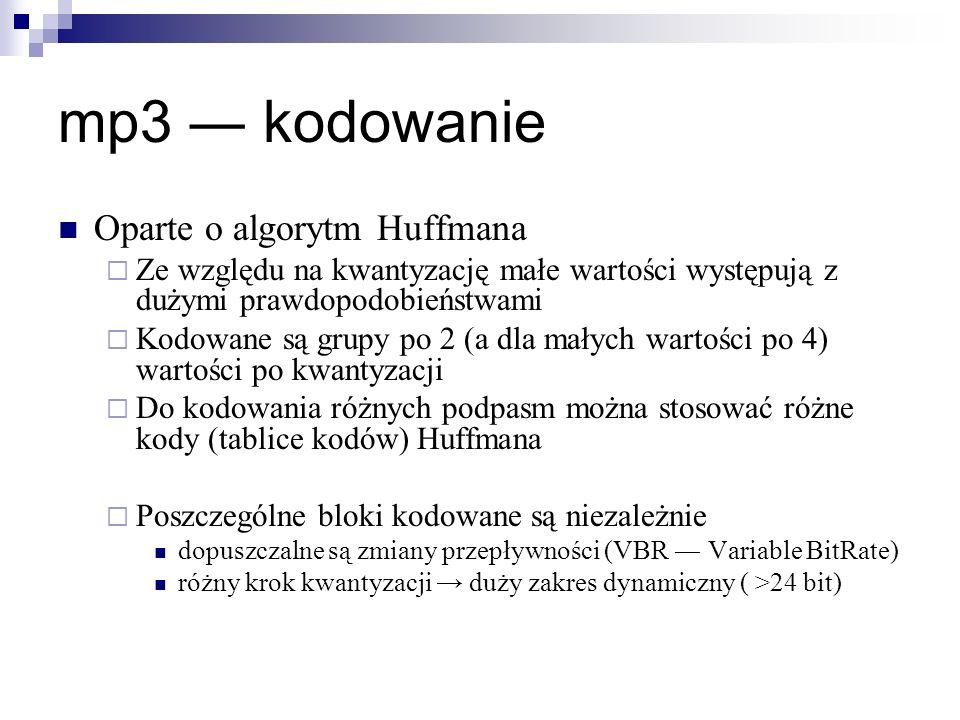 mp3 ― kodowanie Oparte o algorytm Huffmana