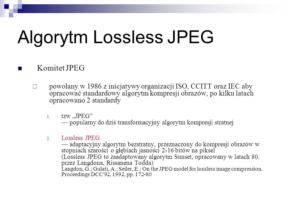 Algorytm Lossless JPEG
