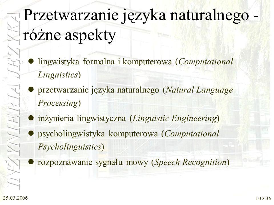 Przetwarzanie języka naturalnego - różne aspekty