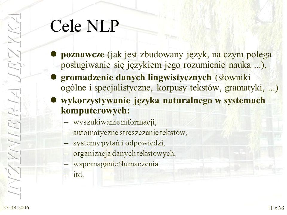 Cele NLP poznawcze (jak jest zbudowany język, na czym polega posługiwanie się językiem jego rozumienie nauka ...),