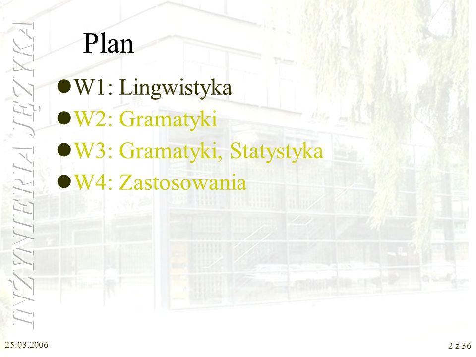 Plan W1: Lingwistyka W2: Gramatyki W3: Gramatyki, Statystyka