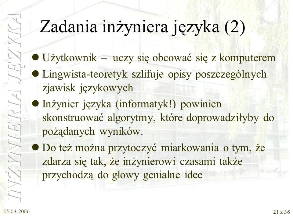 Zadania inżyniera języka (2)