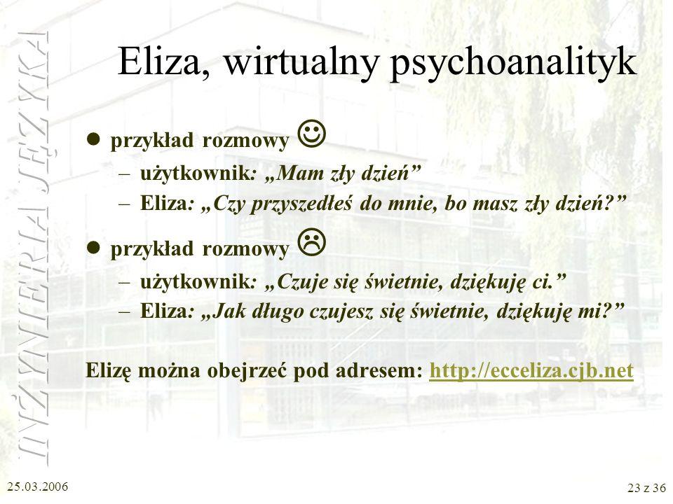 Eliza, wirtualny psychoanalityk