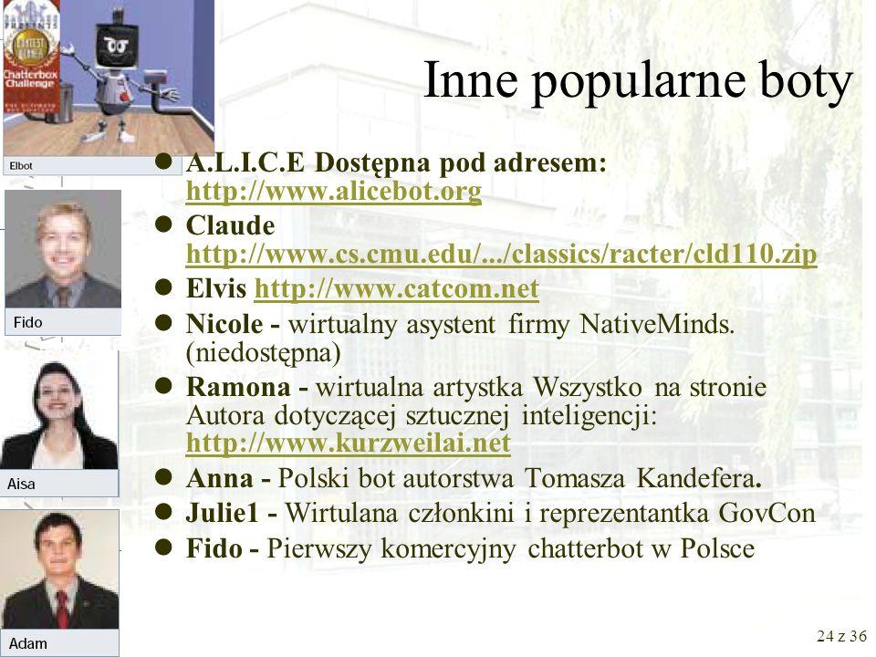 Inne popularne boty A.L.I.C.E Dostępna pod adresem: http://www.alicebot.org. Claude http://www.cs.cmu.edu/.../classics/racter/cld110.zip.
