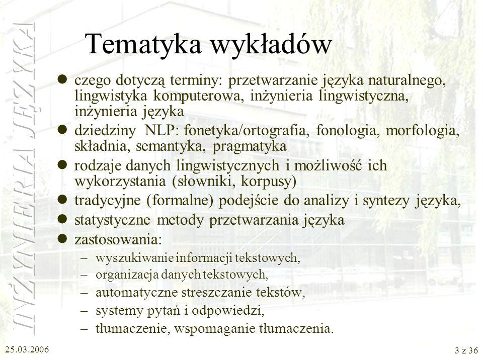 Tematyka wykładów czego dotyczą terminy: przetwarzanie języka naturalnego, lingwistyka komputerowa, inżynieria lingwistyczna, inżynieria języka.