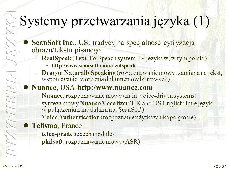 Systemy przetwarzania języka (1)