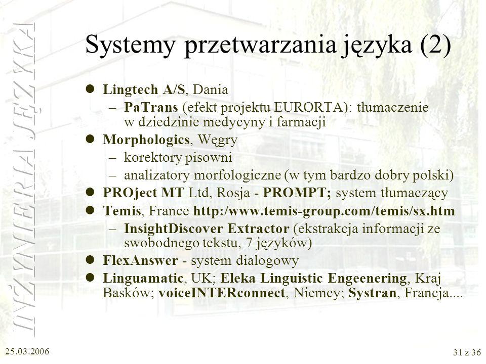Systemy przetwarzania języka (2)