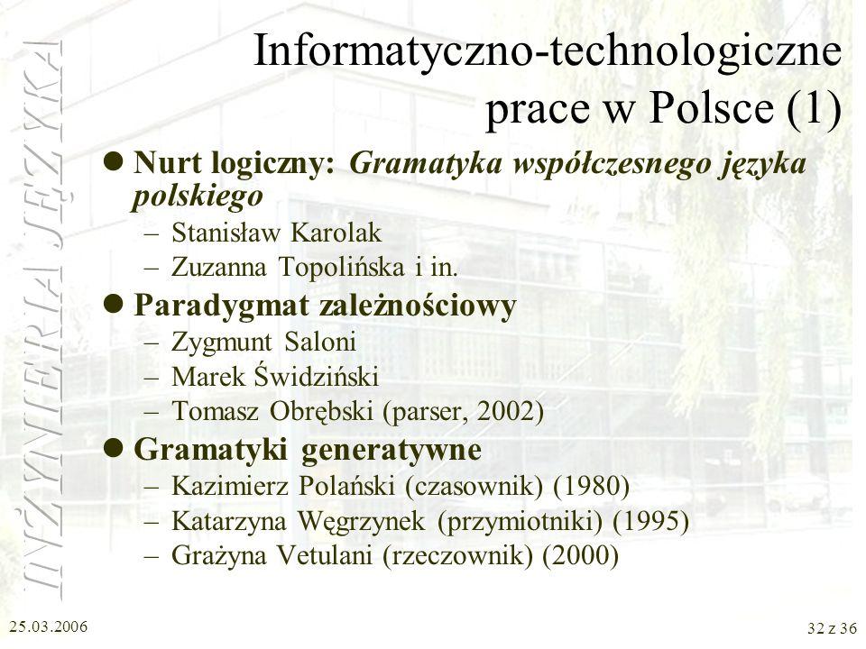 Informatyczno-technologiczne prace w Polsce (1)