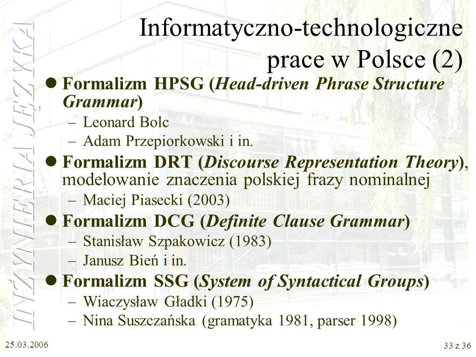 Informatyczno-technologiczne prace w Polsce (2)