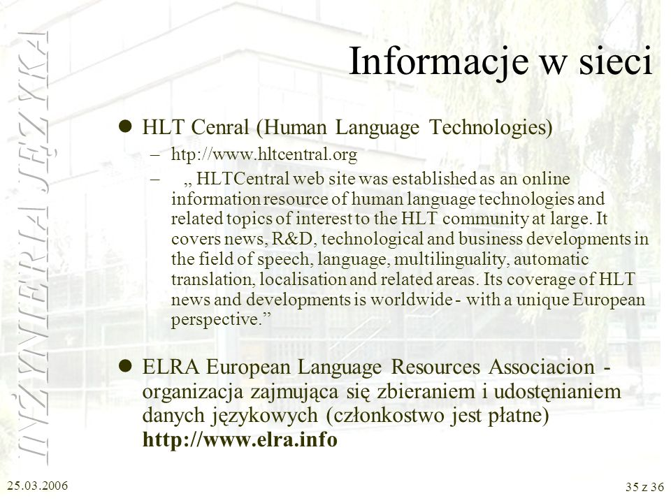 Informacje w sieci HLT Cenral (Human Language Technologies)