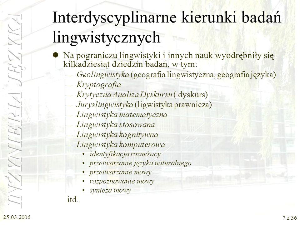Interdyscyplinarne kierunki badań lingwistycznych
