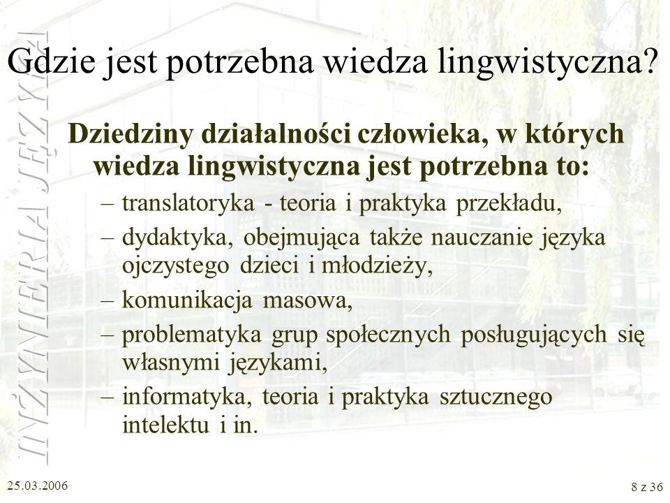 Gdzie jest potrzebna wiedza lingwistyczna