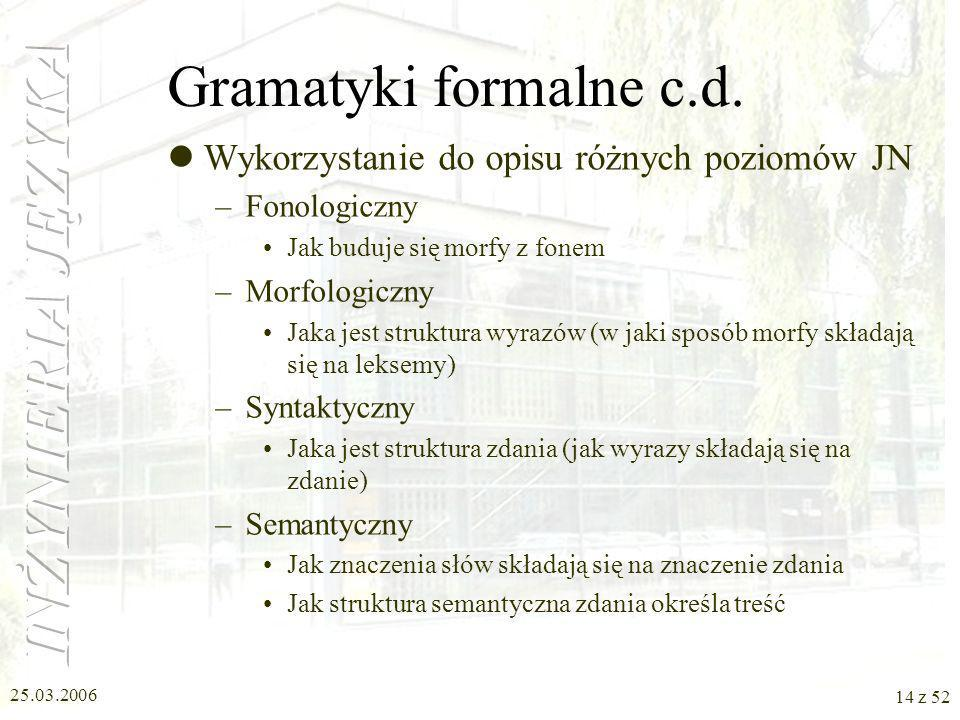 Gramatyki formalne c.d. Wykorzystanie do opisu różnych poziomów JN
