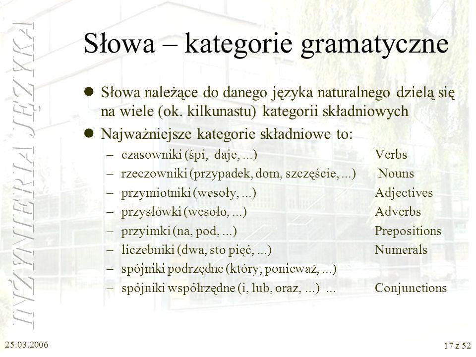 Słowa – kategorie gramatyczne