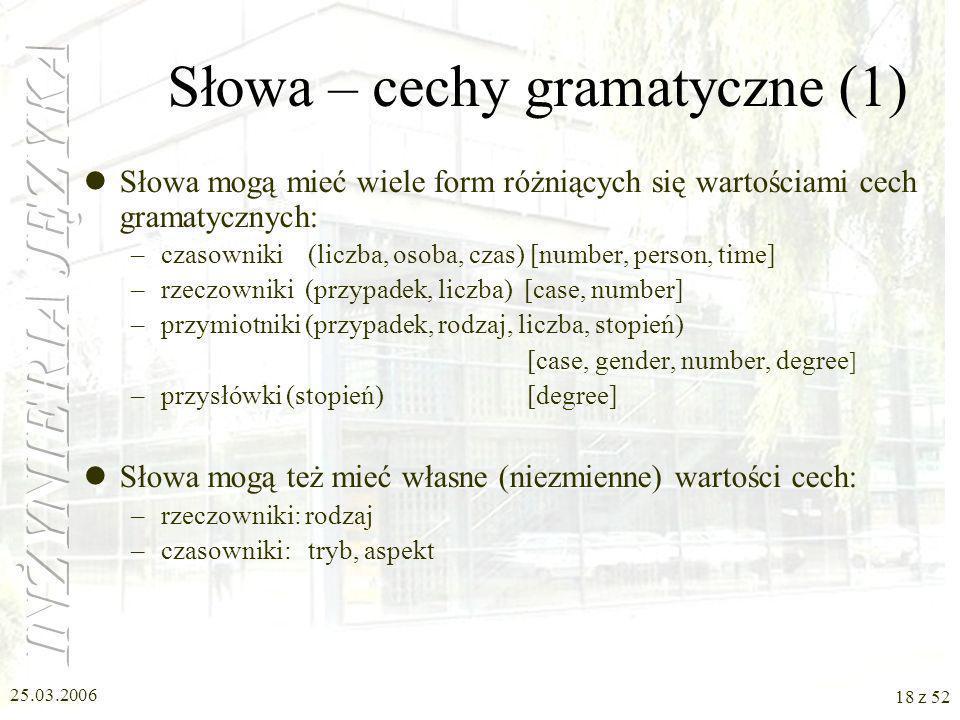 Słowa – cechy gramatyczne (1)