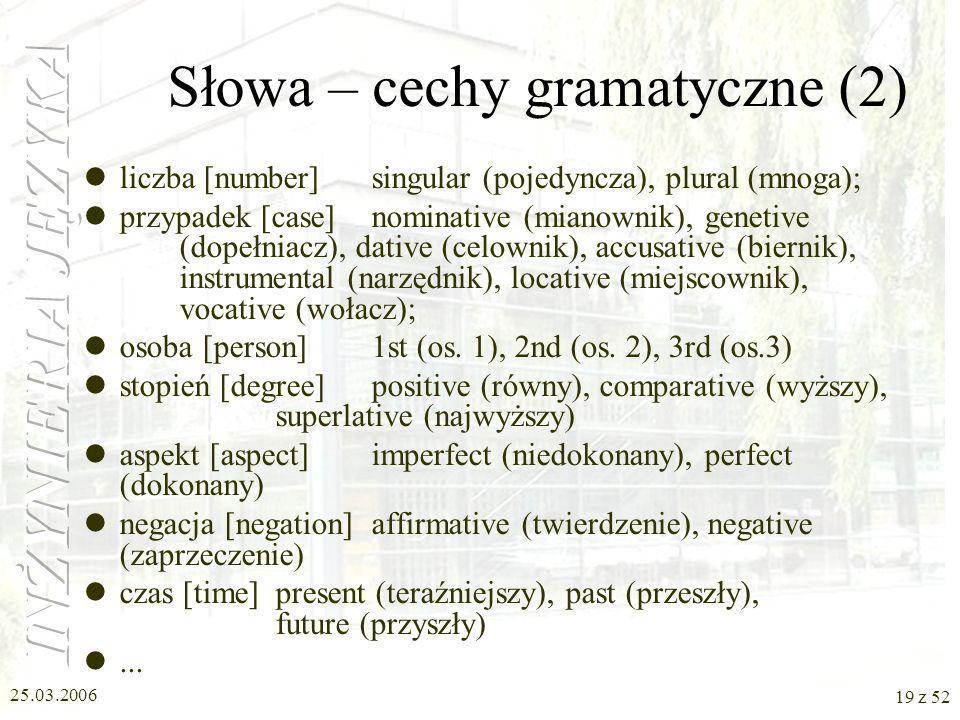 Słowa – cechy gramatyczne (2)