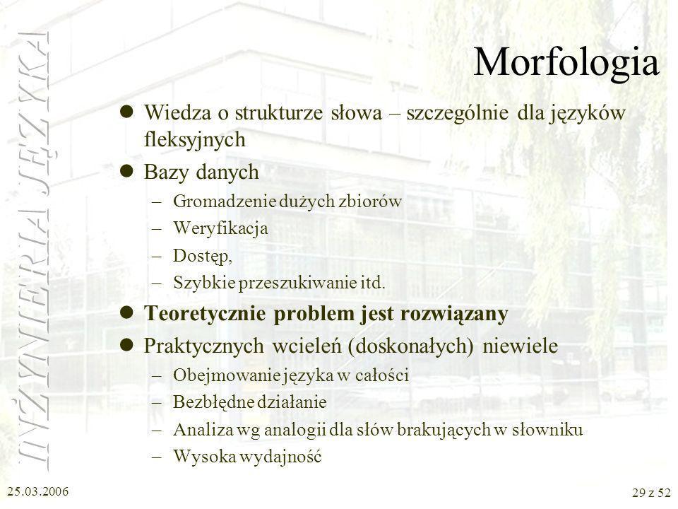 Morfologia Wiedza o strukturze słowa – szczególnie dla języków fleksyjnych. Bazy danych. Gromadzenie dużych zbiorów.