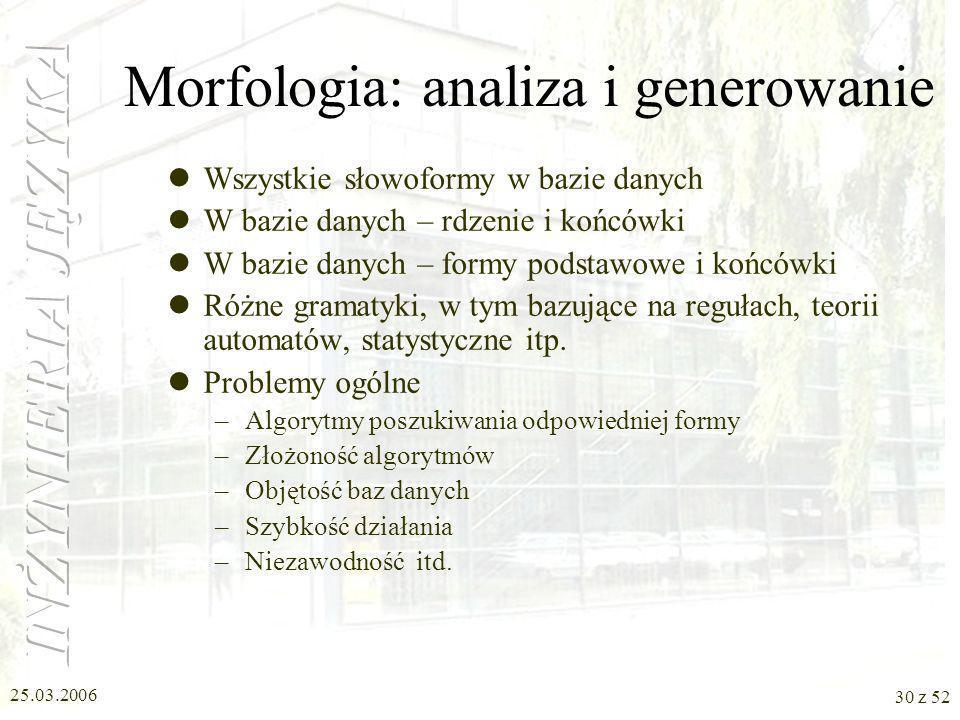 Morfologia: analiza i generowanie