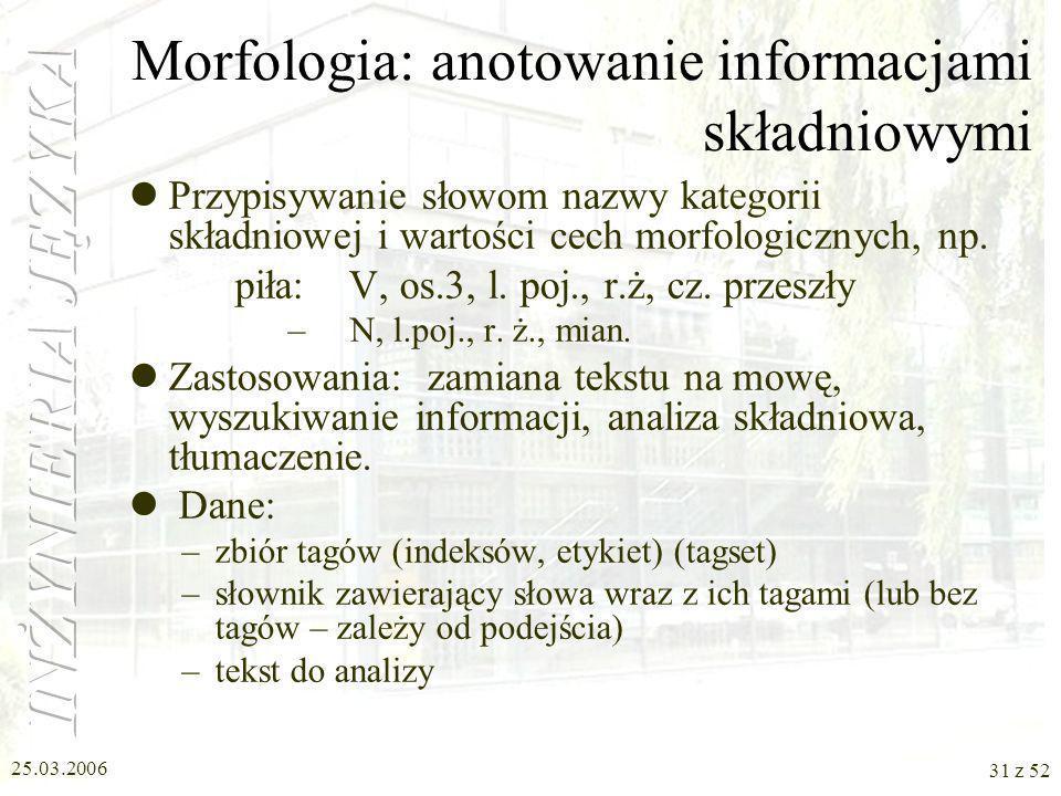 Morfologia: anotowanie informacjami składniowymi