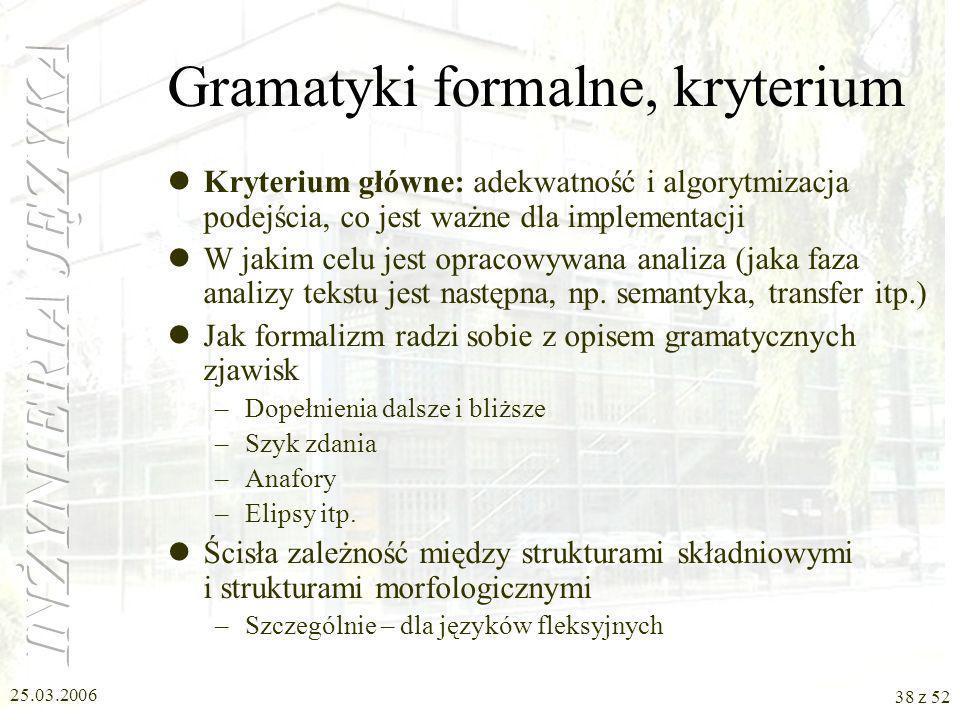 Gramatyki formalne, kryterium