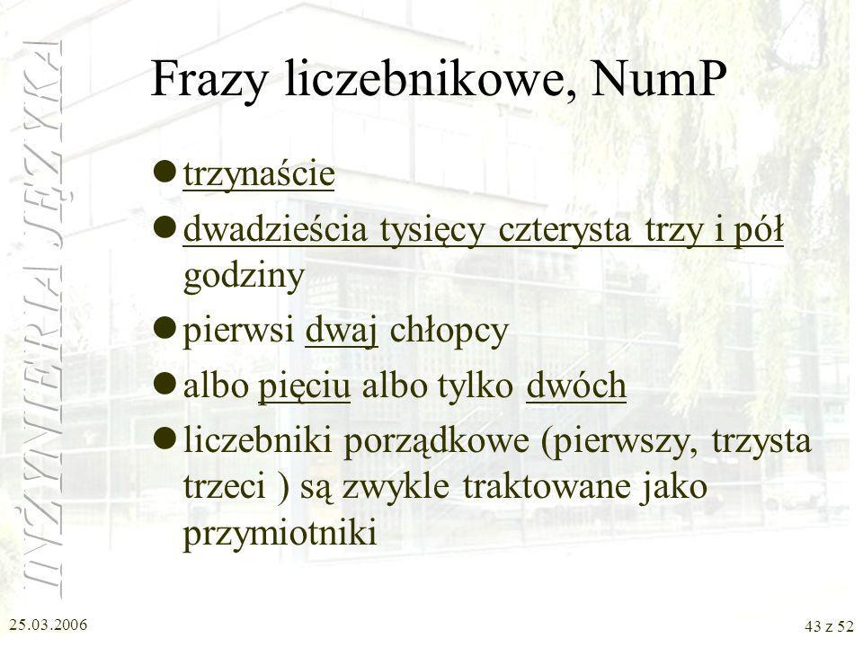 Frazy liczebnikowe, NumP