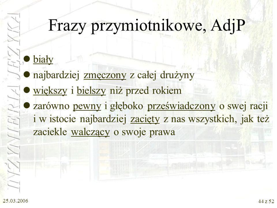 Frazy przymiotnikowe, AdjP