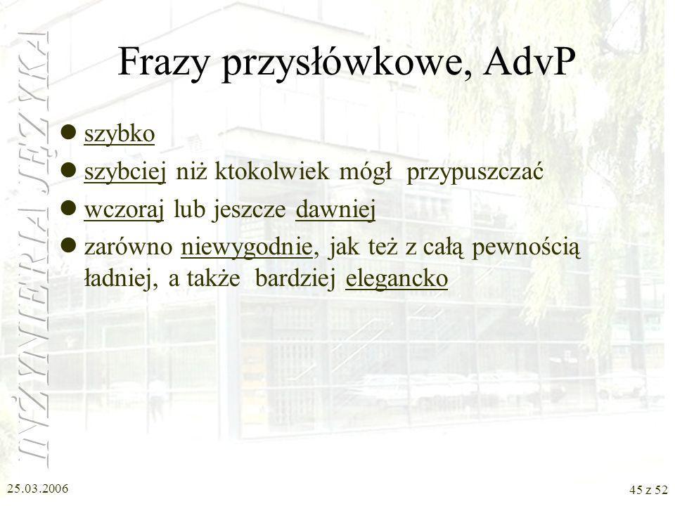 Frazy przysłówkowe, AdvP