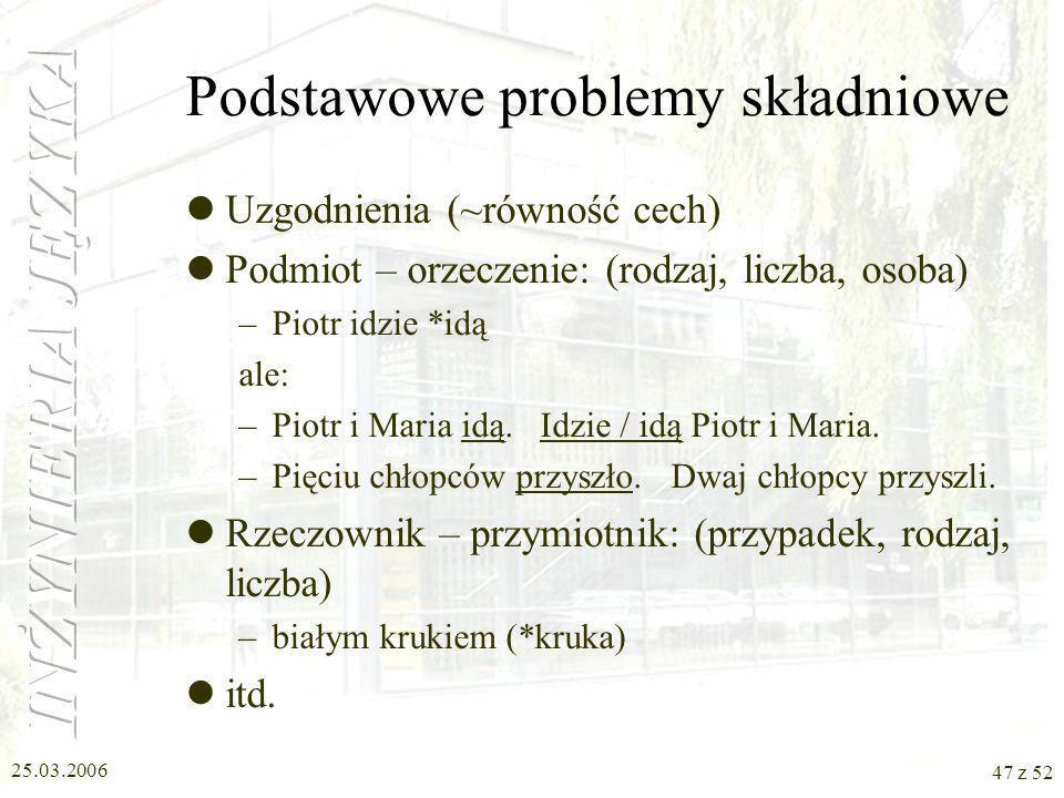 Podstawowe problemy składniowe