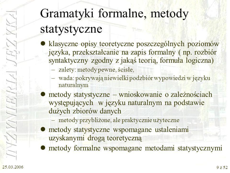 Gramatyki formalne, metody statystyczne