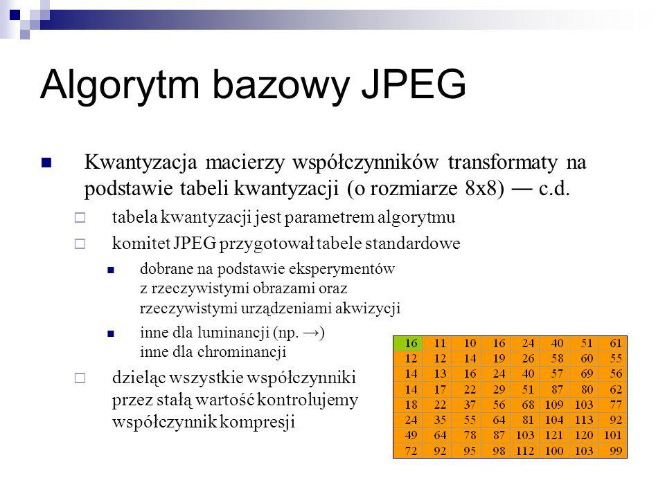 Algorytm bazowy JPEG Kwantyzacja macierzy współczynników transformaty na podstawie tabeli kwantyzacji (o rozmiarze 8x8) ― c.d.