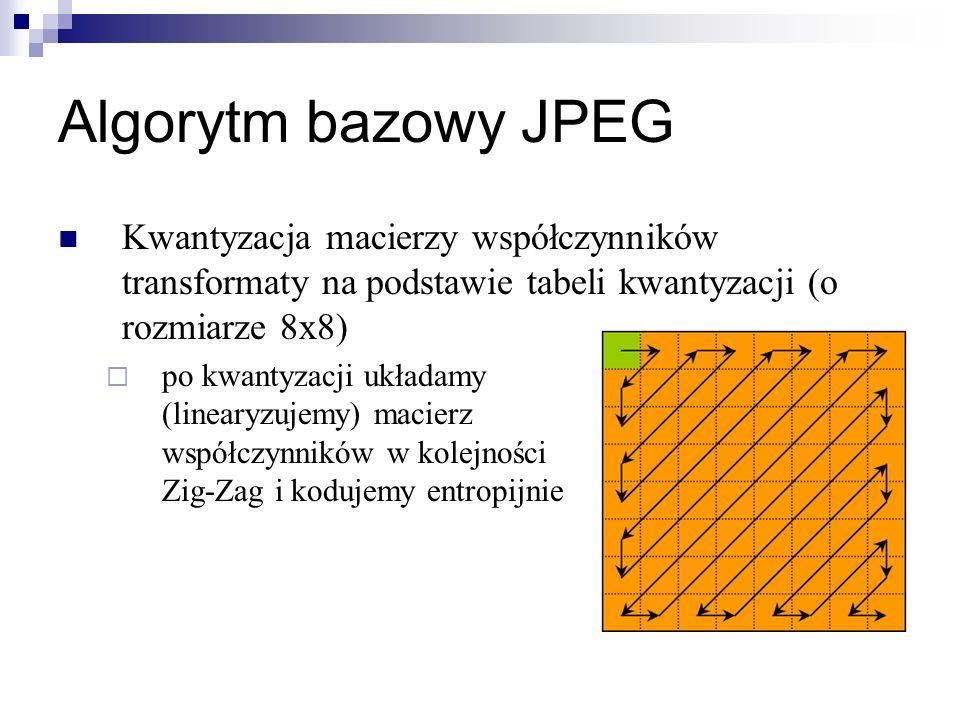Algorytm bazowy JPEG Kwantyzacja macierzy współczynników transformaty na podstawie tabeli kwantyzacji (o rozmiarze 8x8)