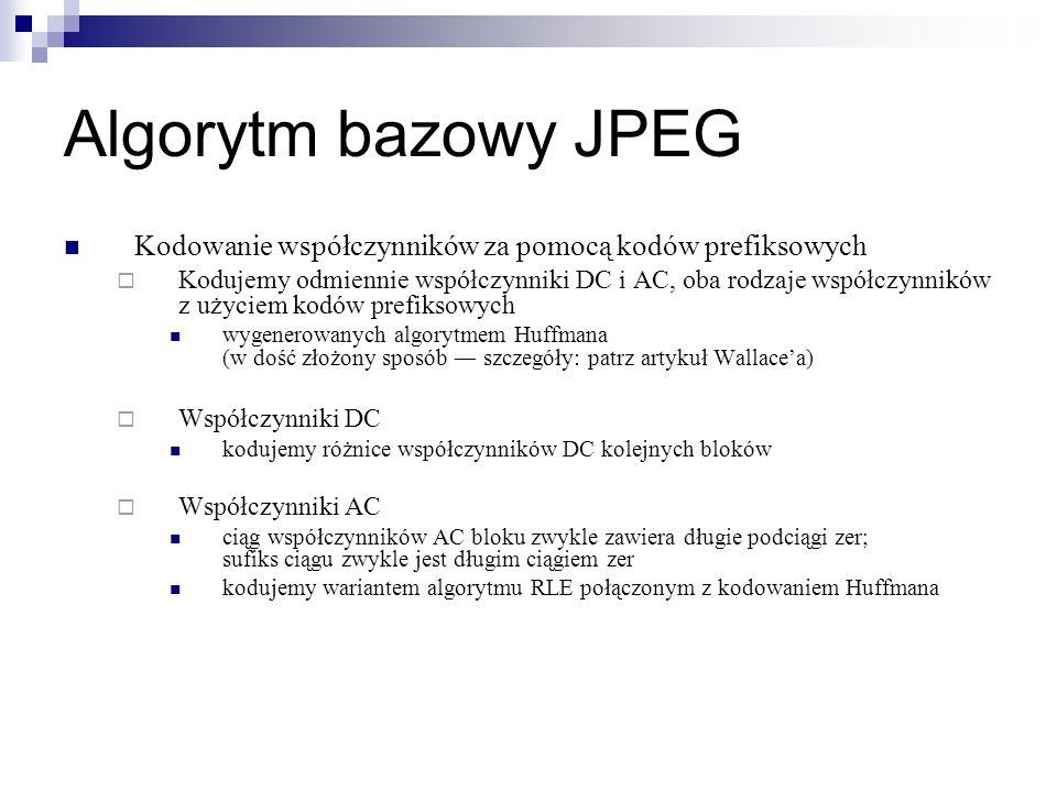Algorytm bazowy JPEG Kodowanie współczynników za pomocą kodów prefiksowych.