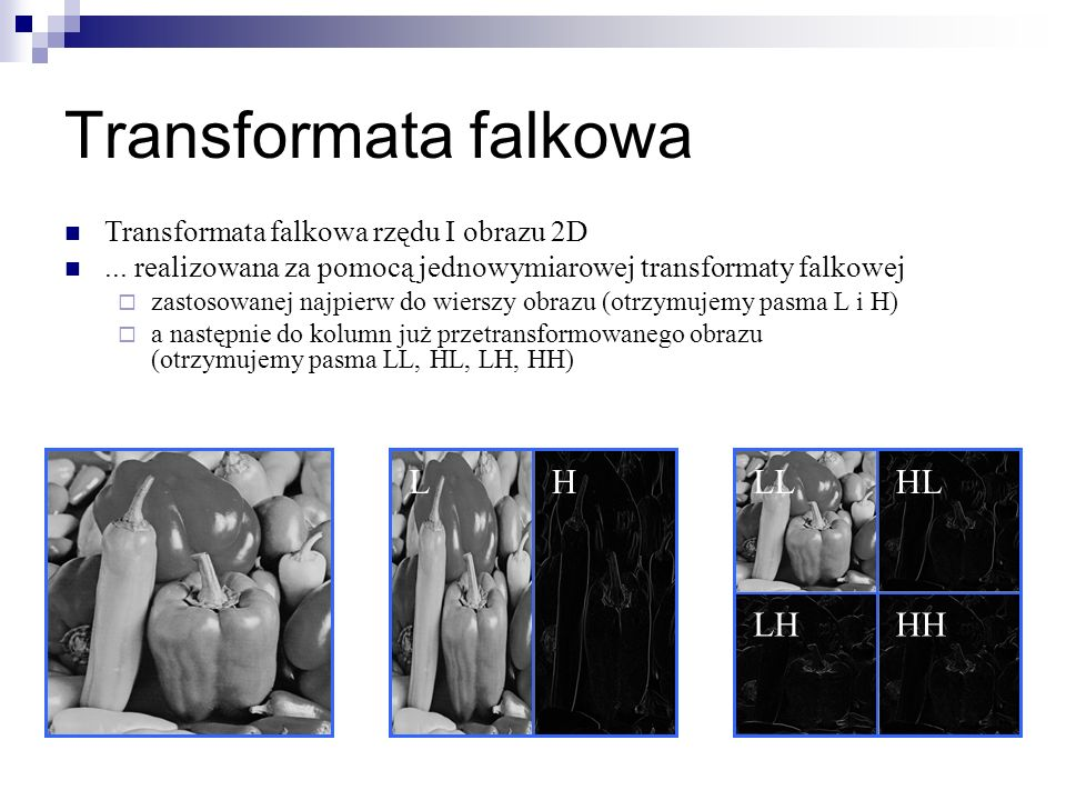Transformata falkowa L H LL HL LH HH