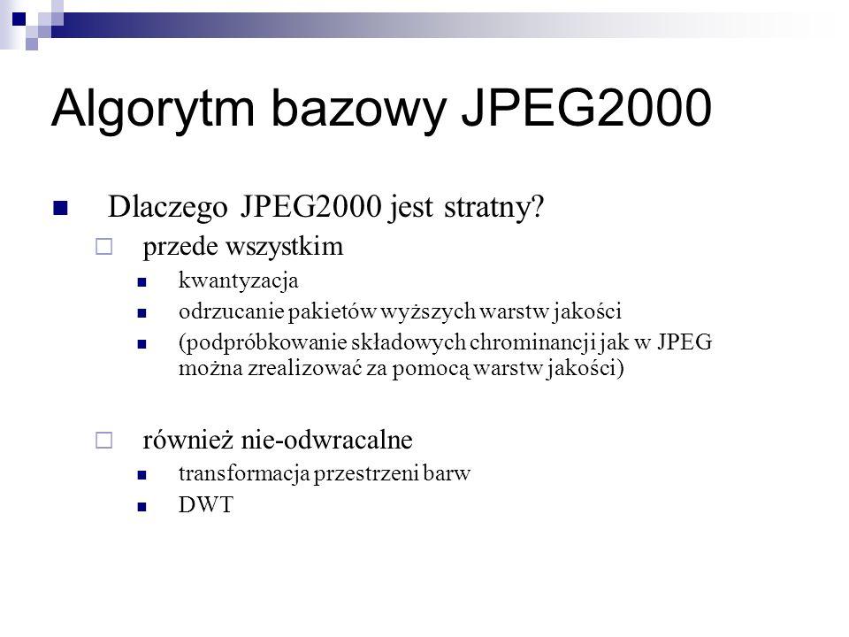 Algorytm bazowy JPEG2000 Dlaczego JPEG2000 jest stratny