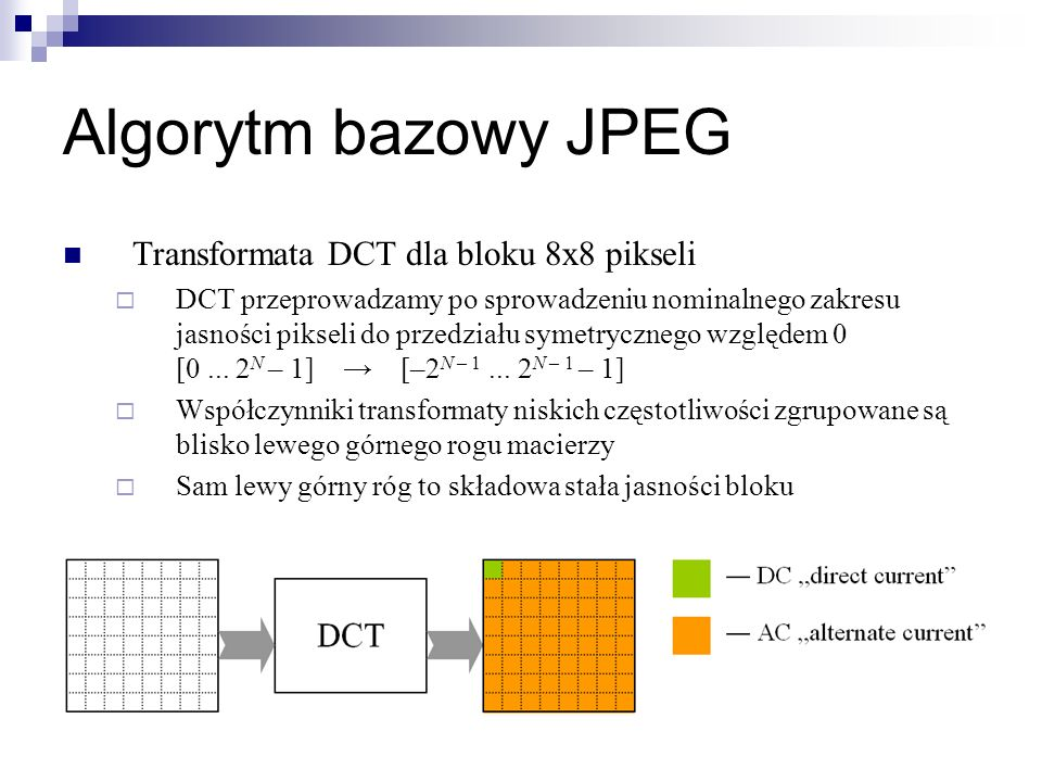 Algorytm bazowy JPEG Transformata DCT dla bloku 8x8 pikseli