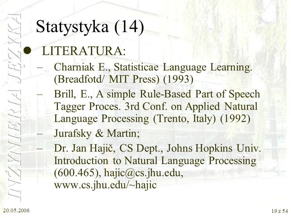 Statystyka (14) LITERATURA: