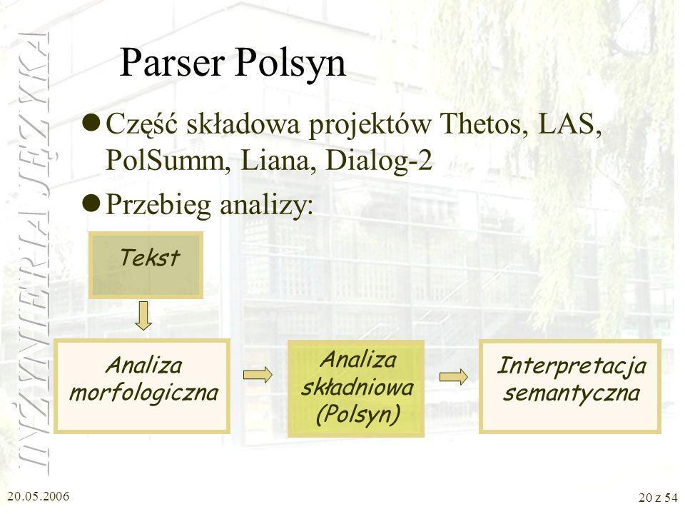 Parser Polsyn Część składowa projektów Thetos, LAS, PolSumm, Liana, Dialog-2. Przebieg analizy: Analiza morfologiczna.