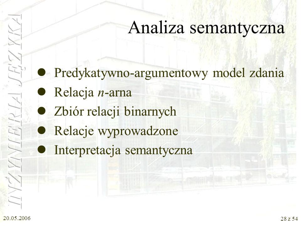 Analiza semantyczna Predykatywno-argumentowy model zdania