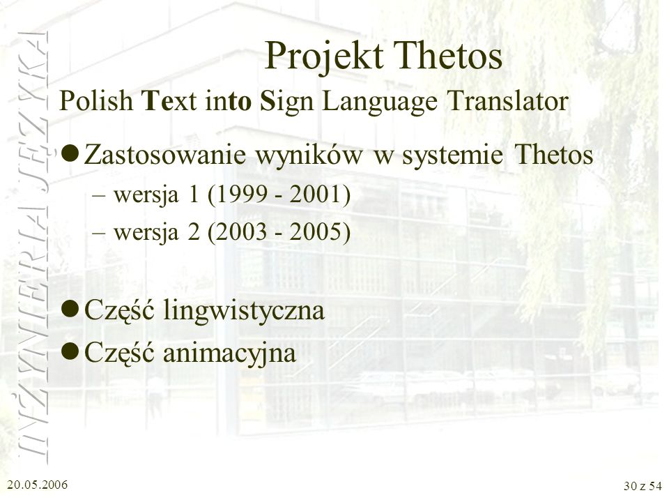 Projekt Thetos Polish Text into Sign Language Translator