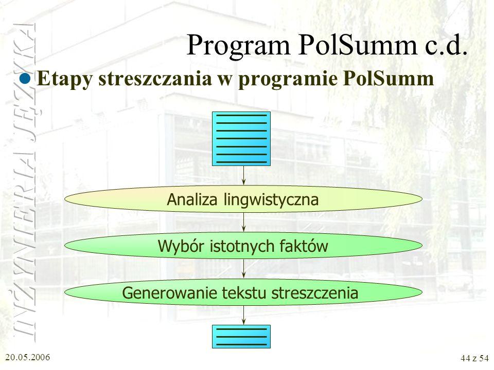 Program PolSumm c.d. Etapy streszczania w programie PolSumm