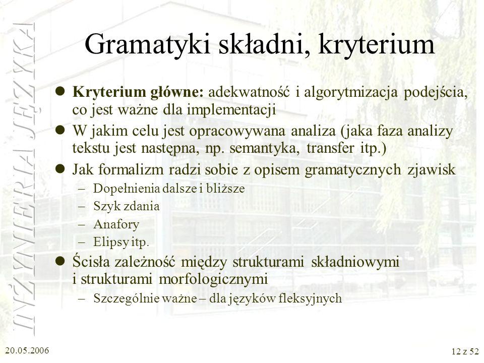 Gramatyki składni, kryterium