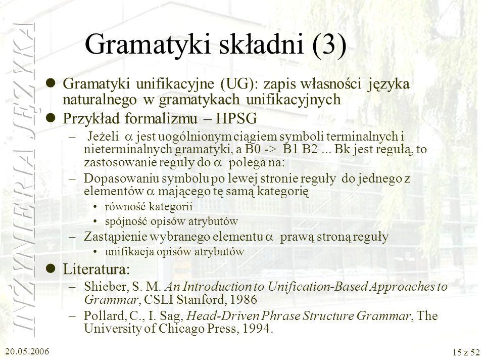 Gramatyki składni (3) Gramatyki unifikacyjne (UG): zapis własności języka naturalnego w gramatykach unifikacyjnych.
