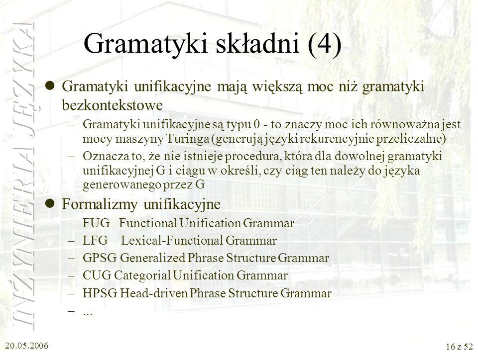 Gramatyki składni (4) Gramatyki unifikacyjne mają większą moc niż gramatyki bezkontekstowe.