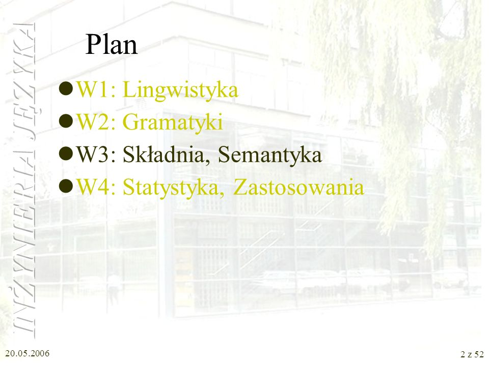 Plan W1: Lingwistyka W2: Gramatyki W3: Składnia, Semantyka