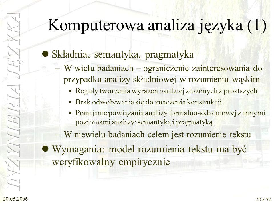 Komputerowa analiza języka (1)