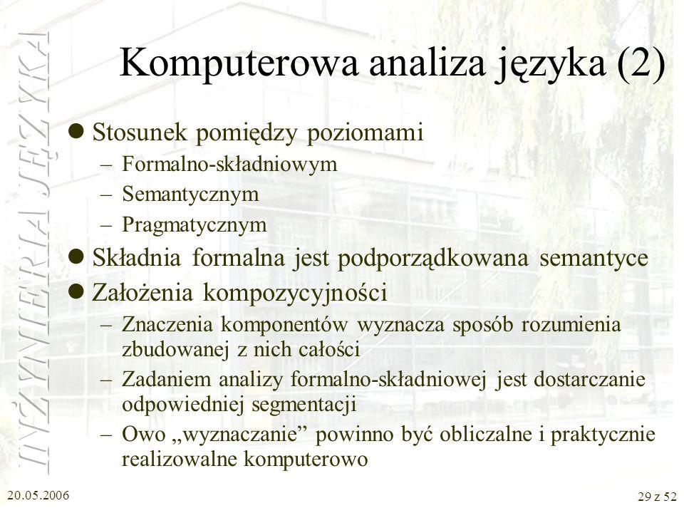Komputerowa analiza języka (2)