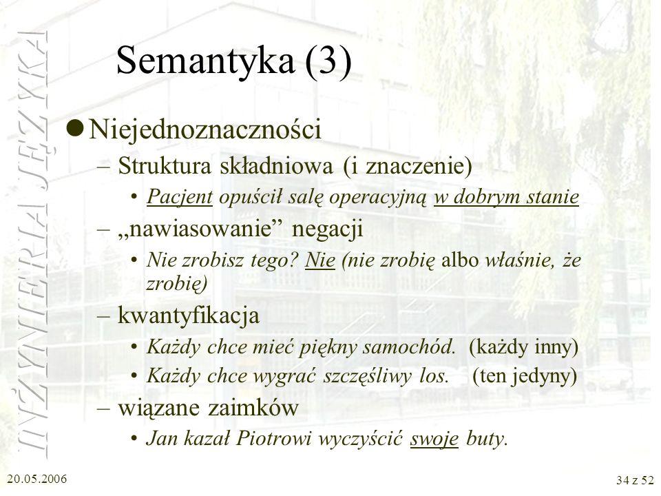 Semantyka (3) Niejednoznaczności Struktura składniowa (i znaczenie)