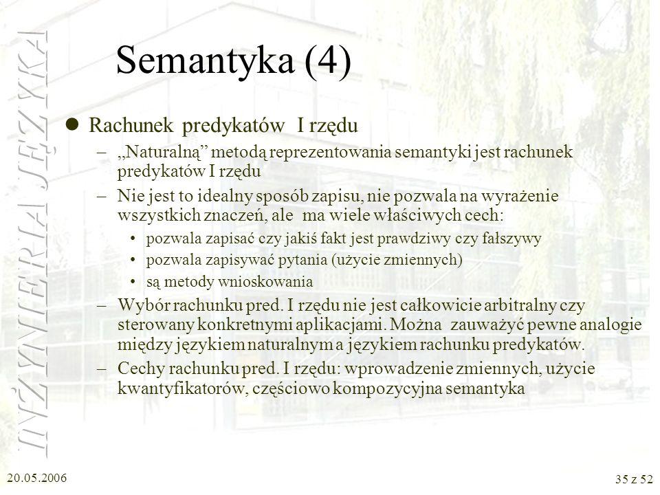 Semantyka (4) Rachunek predykatów I rzędu