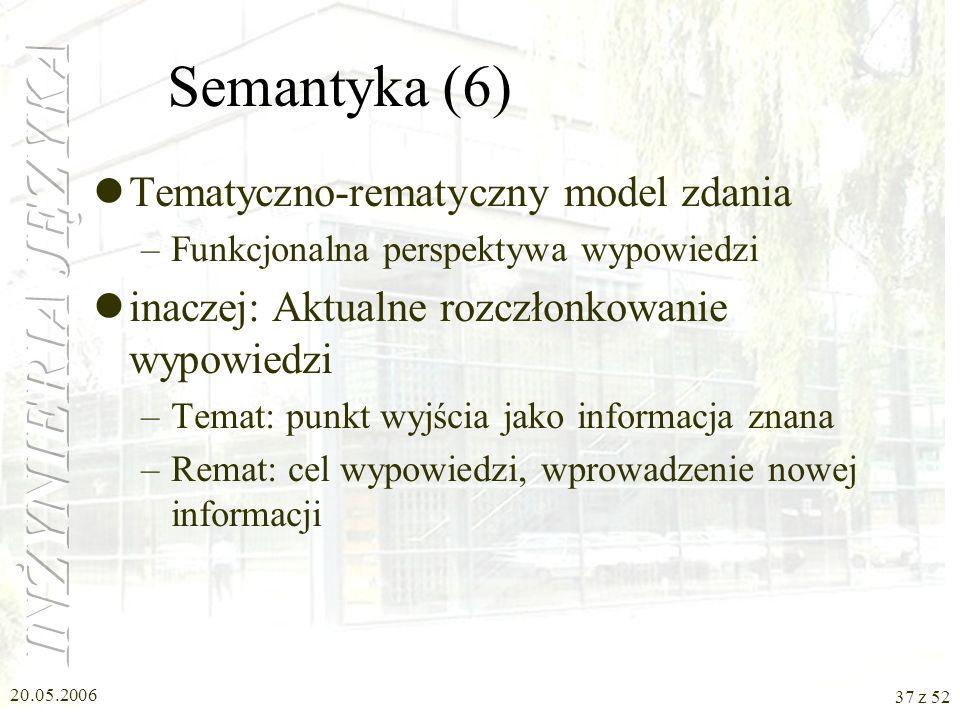 Semantyka (6) Tematyczno-rematyczny model zdania